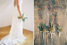 #bouquet #lace #boutonnieres #outdoors #rustic