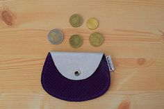Leather coin purseleather change pursepurple coin