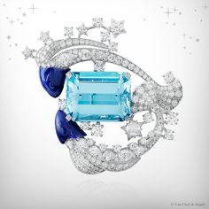 Van Cleef and Arpels - Zodiac Set Pisces Diamonds, Lapis Lazuli, and Emerald-Cut Aquamarine