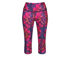 The Delirium Capri is a colourful tie-dye creation in a striking fuchsia pink, orange and purple palette. These 3/4 length leggings finish below the knee on most body shapes to offer support and comfort during gym workouts and runs.  Cut from opaque 360-degree stretch Lycra fabric, you can stride, plank and lunge in confidence - the high waistband keeps your tummy tucked in and the dark base stays totally squat-proof. Sweat is quickly drawn away and flat-lock seams minimise chafing. Purple Palette, Tummy Tucks, Orange And Purple, Body Shapes, Gym Workouts, Squats, Confidence, Tie Dye, Capri