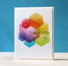 SSS-Many Thanks, Hexagon dies Rainbow Card by Laura Bassen. Scrapbooking, Scrapbook Cards, Cool Cards, Diy Cards, Card Making Inspiration, Making Ideas, Hexagon Cards, Quilling, Rainbow Card