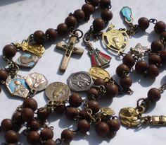 Rosary Antique Nun's Rosary Discalced Carmelite Many Medals Rosary Prayer, Praying The Rosary, Holy Rosary, Prayer Beads, Assumption Of Mary, Hail Mary, Rosary Beads, Blessed Mother, Prayers