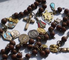 Rosary Antique Nun's Rosary Discalced Carmelite Many Medals