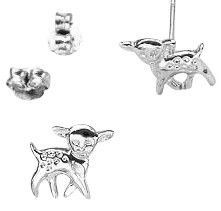 Childrens jewelry:  Tiny sterling silver Bambi kids earrings.