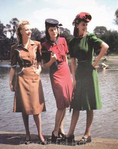 Fabulous 1940s color photo of three women wearing Norman Hartnells utility dresses. From the Fiell archive.