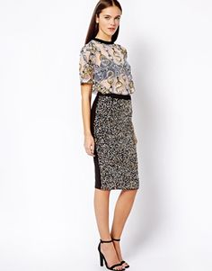 River Island Sequin Front Pencil Skirt
