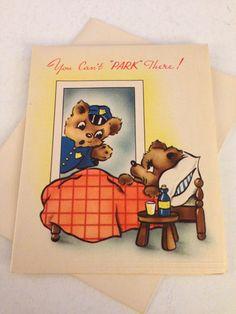 Vintage Greeting Card - Get Well Card - Policeman Bear Get Well Card - Animal Card, 1940s Card,  - Unused Card with Envelope