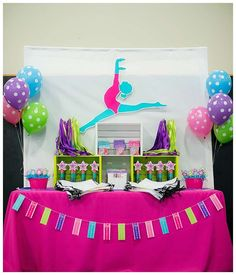 """A Bright & Colorful Gymnastics Birthday Party . Tumble and twirl with the birthday girl in this bright and colorful gymnastics birthday party full of """"perfect 10th Birthday Parties, Birthday Party Decorations, Birthday Ideas, Birthday Fun, Gymnastics Birthday, Barbie Birthday, Barbie Party, Bright, Party Ideas"""