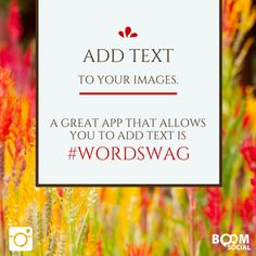 Add text to your Instagram images. Wordswag is a GREAT iPhone app for this!