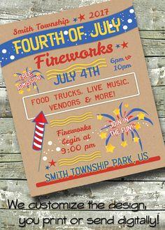 Brown Bag FOURTH of JULY Neighborhood Block Party 4th Summer Picnic ~ 5x7 Invite ~ 8.5x11 Flyer ~ 11x14 Poster ~ 300 dpi Digital Invitation by DitDitDigital on Etsy