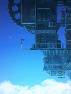 Pixiv Id 9179925 Mobile Wallpaper - Zerochan Anime Image Board Aesthetic Art, Aesthetic Anime, Futuristic City, Futuristic Design, Fantasy City, Environment Concept Art, Arte Pop, Anime Scenery, Fantasy Landscape