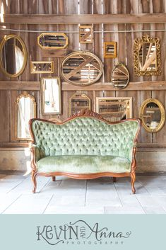 Green Vintage Couch on a Wall of Mirrors at a Outdoor Kentucky Barn Wedding Venue The Barn at Springhouse Gardens in Nicholasville, Kentucky. See more photos by Kentucky Wedding Photographers Kevin and Anna Photography at Reception, Antique, Gold Barn Wedding Photos, Wedding Reception Photography, Wedding Photography Packages, Barn Wedding Venue, Wedding Shot, Wedding Ideas, Wedding Dj, Wedding Couples, Wedding Signs