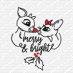 rudoph과 클라리스, 메리, 밝은, SVG, 루돌프 빨간 코 순록, 크리스마스, 벡터, 잘라 내기, 파일, 데칼, 클립 아트, 휴일, 겨울