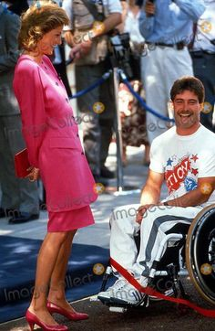 July 4 1989 Diana attends a Reception in aid of the International Spinal Research Trust at the Marlborough Crest Hotel, to mark the finish of the Trust's 'Push 2' Edinburgh to London wheelchair event