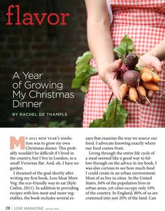 Grow a holiday (or garden party) dinner!  Preview from the spring issue of Leaf Magazine