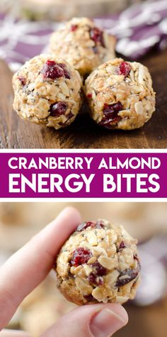 Cranberry Almond Energy Bites are a protein packed snack that you can store in your freezer for healthy and convenient fuel. Prep this snack with chia seeds ground flaxseed peanut butter and almonds for lots of protein fiber and healthy fats. Healthy Snacks To Buy, Healthy Toddler Snacks, Easy Snacks, Healthy Fats, Healthy Sweets, Eating Healthy, Clean Eating, Snacks For Work, Healthy Chef