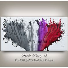 Fuchsia wall art painting, red art, gray custom wedding gift, unique... ($269) ❤ liked on Polyvore featuring home, home decor, wall art, fuschia home decor, grey home decor, red painting, gray home decor and mod home decor