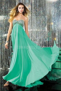 Sheath/ Column Sweetheart Chiffon Empire Floor Length Prom Gown  #greenpromdress