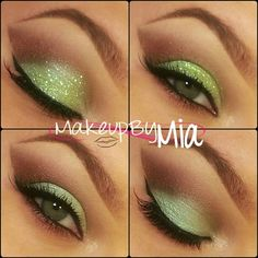 "All pigments are from @BFTE Cosmetics .Lid- Appletini Crease- Isis Inner Corner- Naked Truth  Glitter on the top two photos is ""Mad Melon"" from @eyekandycosmetics  @Mia Russo"