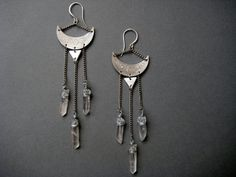 The Mystic- crescent moon and raw quartz crystal chandelier earrings with triangles and stamped moon phase