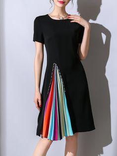 Pleated Crew Neck A-line Short Sleeve Elegant Midi Dress