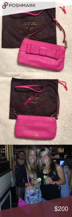 """Kate Spade Hot Pink Celina Bow Crossbody Authentic Kate Spade purse in """"Stunning Pink"""" lightly pebbled leather. 14-kt light gold plated hardware. Adjustable 23-23.5"""" Crossbody Strap. This item was worn but in good condition other then the leather on back which had some light stringing from denim during wear. Does not show when wearing purse! Ships in original dust bag as shown! Measurements: 11"""" W x 6"""" H x 2"""" D kate spade Bags Crossbody Bags"""