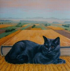 Painting of black cat. Francois Knopf