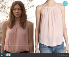 Paige's blush pink pleated neck top on Scorpion.  Outfit Details: http://wornontv.net/52376/ #Scorpion