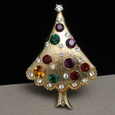 Christmas Tree Pin Vintage Rhinestones Xmas Brooch Eisenberg Ice