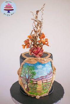 Black Hand Painted Landscape - Cake by Veenas Art of Cakes - CakesDecor