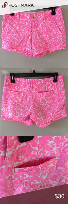 "Lilly Pulitzer 5"" Callahan Short comfortable yet durable wear in a vibrant shade of pink that is flirty And fun! 100% cotton Lilly Pulitzer Shorts"