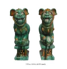 "This is a pair of Ceramic foo dog in primary green and yellow color. A female is hugging a foo dog baby. And a male foo dog is holding a ball. That would be great to place at door step, home decors or garden and yard.  Dimensions: 7.75""w x 15.5""d x 24.75""h (each) Origin: China Material: Ceramic Condition: A few peeling clastic traces, not perfec"