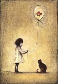 SLAWEK GRUCA cat and girl with balloon