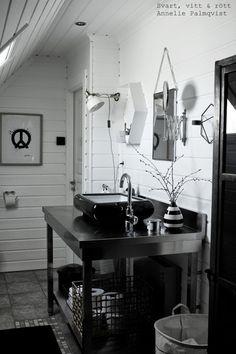 B&W bathroom - B&W bathroom - Sisal, Home Fashion, Double Vanity, House Doctor, Marimekko, Black And White, Bathroom, House Styles, Interior