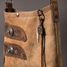 Mini bucket: vintage leather & sterling/turquoise conchos