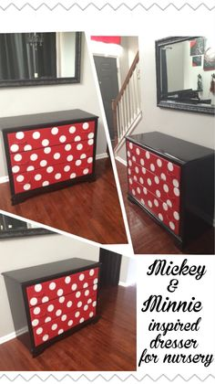 Minnie dresser for Mickey Minnie themed nursery/bedroom. Minnie Mouse House, Minnie Mouse Nursery, Mickey Mouse Room, Mickey Y Minnie, Disney Nursery, Autumn Room, Minnie Mouse Decorations, Disney Furniture, Disney Bedrooms