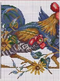 ru / Foto # 1 - Gallo y gallina - Cross Stitch Bird, Cross Stitch Animals, Cross Stitch Designs, Cross Stitching, Cross Stitch Patterns, Chickens And Roosters, Bead Loom Patterns, Little Birds, Loom Beading