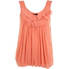 Coral Chiffon Trim Swing Top ($51) found on Polyvore