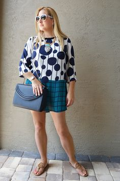 Fashion | Teal and Blue Polka Dots | The MIAMI Rose | #OOTD