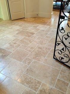 Mocha Koyna tile in a Versailles pattern