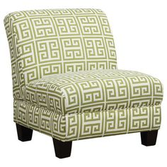 Bring a pop of pattern to your den or living room decor with this stylish accent chair, featuring a contemporary silhouette and Greek key motif.