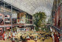 1851年、世界初の万国博覧会となったロンドン万国博覧会がロンドンのハイド・パークで開催され、国際的な注目を集め成功裏に終わった。(万国博覧会会場となった水晶宮の内部)