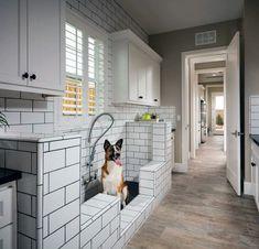 Top 60 besten Home Dog Wash Station Ideen – Hund Dusche Designs – Mann Stil Mudroom Laundry Room, Laundry Room Design, Dog Bathroom, Dog Washing Station, Douche Design, Dog Rooms, Dog Shower, Dog Houses, Tiny Houses