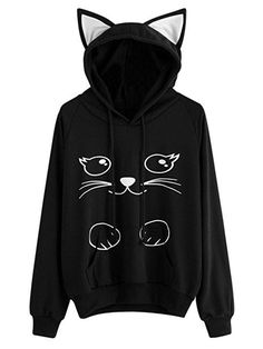 Casual Cat Print Cat Ears Hooded Long Sleeve Women Hoodies