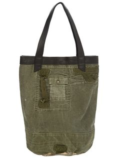 Military green cotton tote bag