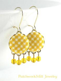 Dangle Earrings - Spring Yellow Gingham - Yellow and White Fabric Covered Buttons Jewelry with Czech Glass Beads by PatchworkMillJewelry