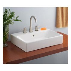 Cheviot Nuo Overcounter Bath Sink with 8 inch Drilling 1232W23-8 White