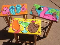 hand painted beach bar stools - Google Search