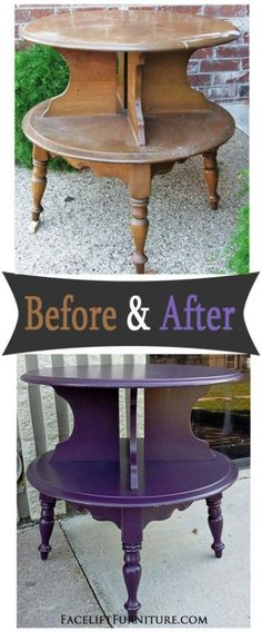 Maple end table painted, glazed and distressed in Plum with Black Glaze - Before and After from Facelift Furniture