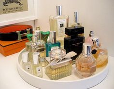 Find the perfect perfumes easier for that special occasion by organizing them on a Lazy Susan.